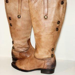 Arturo Chiang Distressed Leather Riding Boots